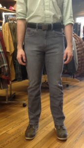 Joe is wearing Grand River stretch twill pants. Available in gray, tan, and olive.